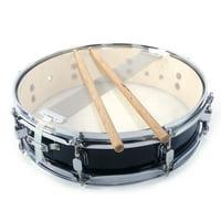 13x3.5 Inch Professional Snare Drum Drumsticks Drum Key Strap Set Black