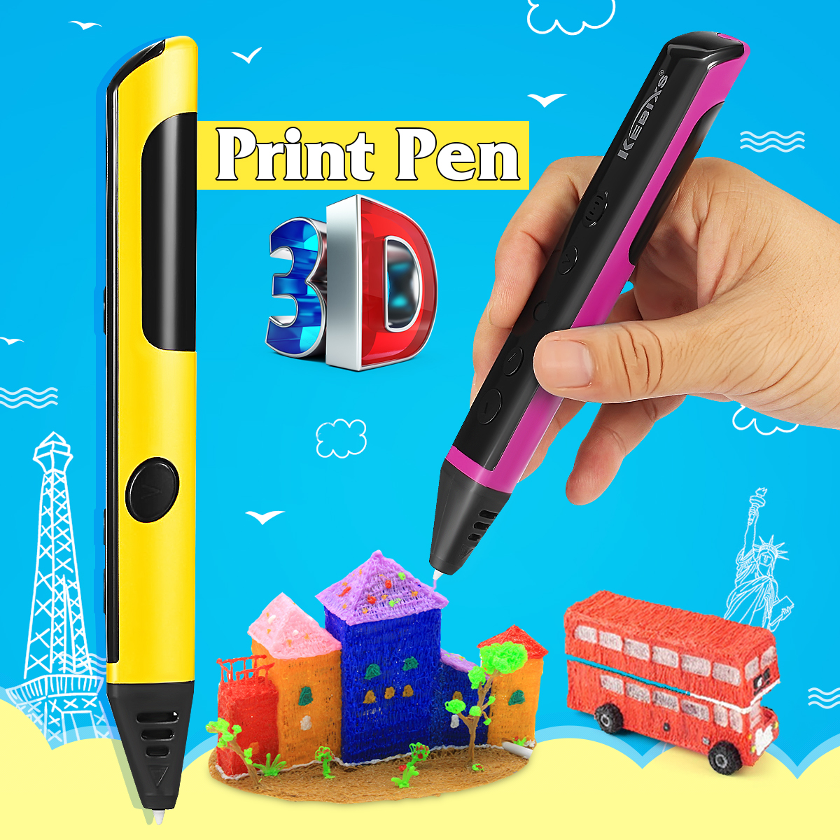 Kids Professional 3D Printing Pen Stereoscopic Dooldes Drawing Crafts Arts Education with 2x Free Filaments Toy Set Children Creative Birthday Gift