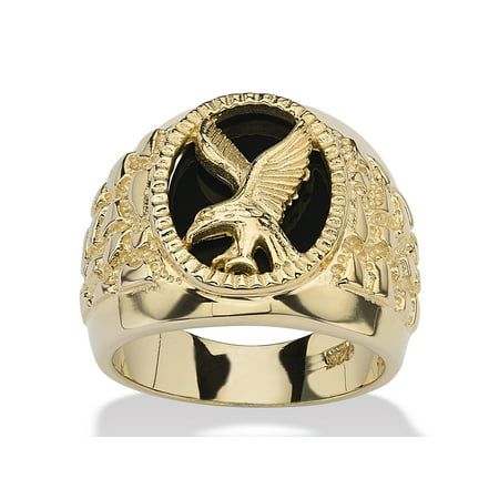 Men's Oval-Shaped Genuine Onyx 14k Gold over Sterling Silver Nugget-Style Eagle -