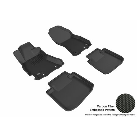 3D Maxpider 2015 2017 Subaru Legacy Outback Front   Second Row Set All Weather Floor Liners In Black With Carbon Fiber Look