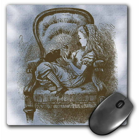 3dRose Alice in Chair with Cat Alice in Wonderland Vintage, Mouse Pad, 8 by 8 inches (Mousepad Alice In Wonderland)