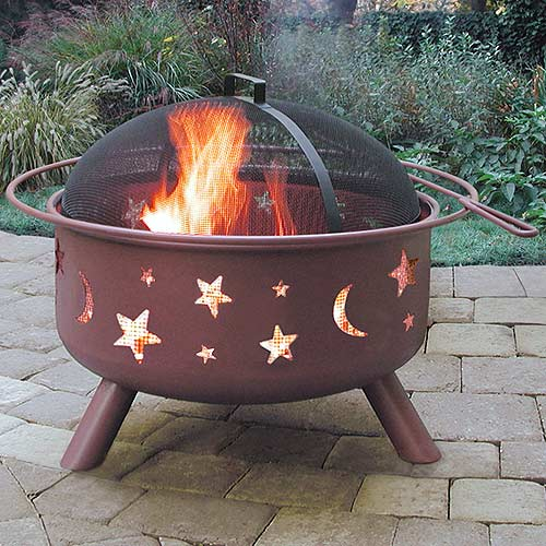 Landmann Big Sky Steel Fire Pit, Stars & Moons, Georgia Clay