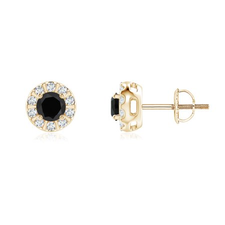 Black Onyx Stud Earrings With Bar Set Diamond Halo In 14k Yellow Gold 4mm Se0126bod Yg Aaa 4