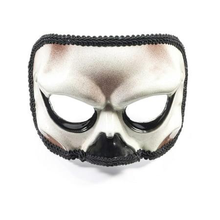 Adult White Black Skeleton Skull Halloween Costume Half Mask