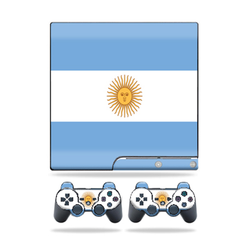 Skin Decal for Sony Playstation 3 PS3 Slim + 2 controllers Argentina Flag
