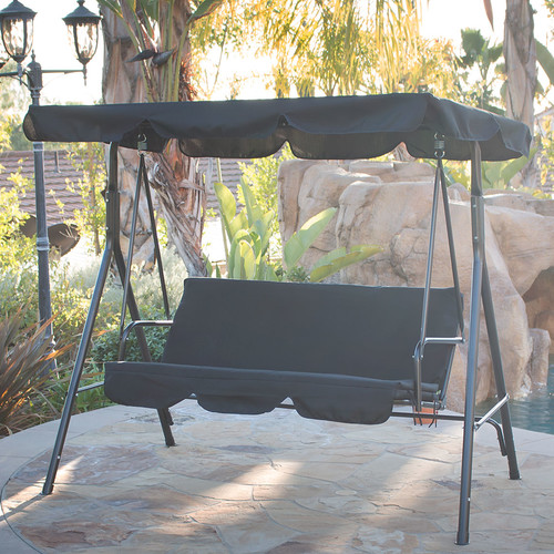 Belleze© 3 Person Patio Swing Outdoor Canopy Awning Yard Furniture Hammock Steel (Black)