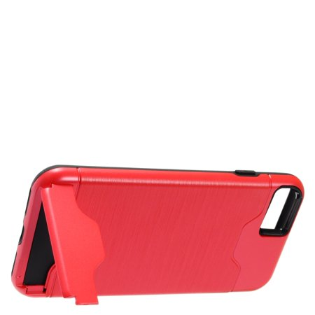 Insten Dual Layer [Shock Absorbing] Protection Hybrid Stand Brushed Chrome/Hard Plastic Case Cover For Apple iPhone 8 / iPhone 7, Red/Black Plastic Back Stand Case Cover