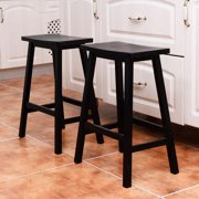 Ktaxon Set of 4 Bar Stools Home Kitchen Dining Room Saddle Seat Wooden Pub Chair Counter Stools Black