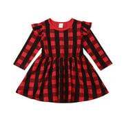Lookwoild Kids Toddler Baby Girl Red Plaids Christmas Dress Princess Party Tutu Dress