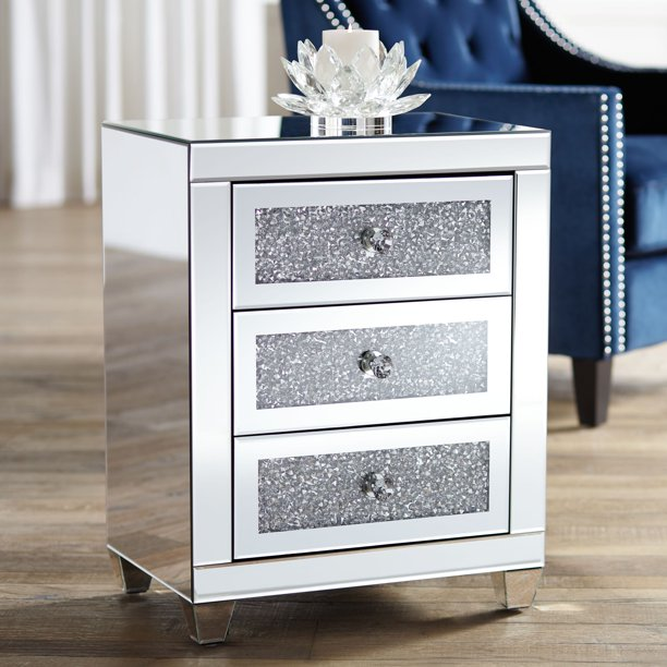 """Studio 55D Gia 20"""" Wide Mirrored Silver 3-Drawer Side Table"""