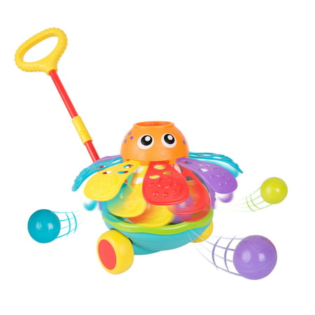 Playgro Push Along Ball Popping Octopus, STEM Toy for a bright