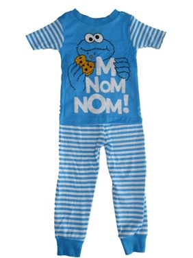 Sesame Street Little Boys White Blue Cookie Monster Short Sleeve Pajama Set