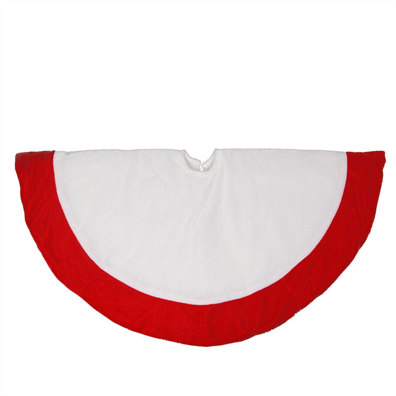 """26"""" Traditional White and Red Velveteen Christmas Tree Skirt"""