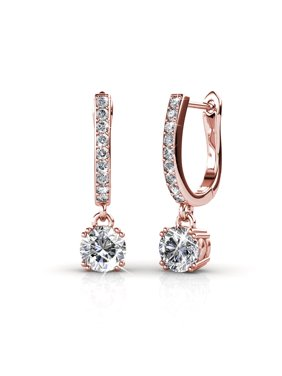 Cate & Chloe McKenzie 18k White Gold Dangling Earrings with Swarovski Crystals, Solitaire Crystal Dangle Earrings, Best Silver Drop Earrings for Women, Channel Set Drop Horseshoe (Rose Gold)