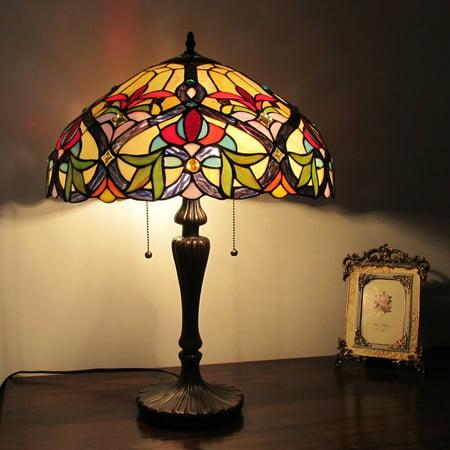 Chloe Lighting Tiffany Style Victorian Design 2-light Amber/ Blue Stone Table Lamp (Tiffany Victoria)