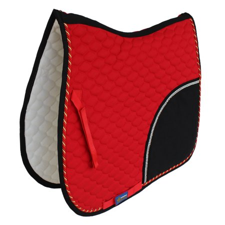 Horse Quilted ENGLISH SADDLE PAD Tack Trail Riding Red Black