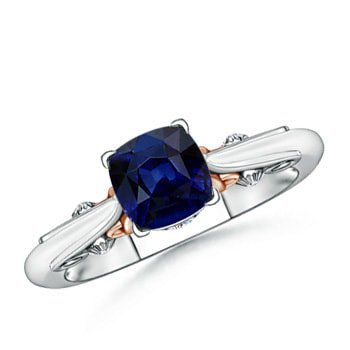 September Birthstone Ring - Solitaire Cushion Blue Sapphire Ring in Two Tone in Platinum (6mm Blue Sapphire) - SR0610S-PT-AAA-6-6.5 Blue Sapphire Two Tone Ring