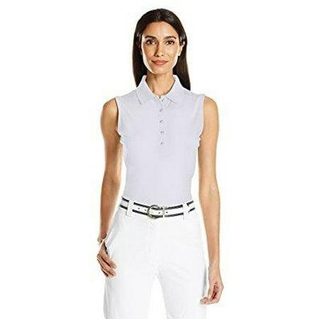 - callaway women's sleeveless opti-stretch polo tee, bright white, large
