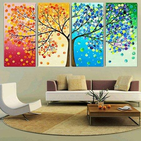 Asewin Wall Decor,4Pcs 4 Seasons Colorful Season Lucky Tree Canvas ...