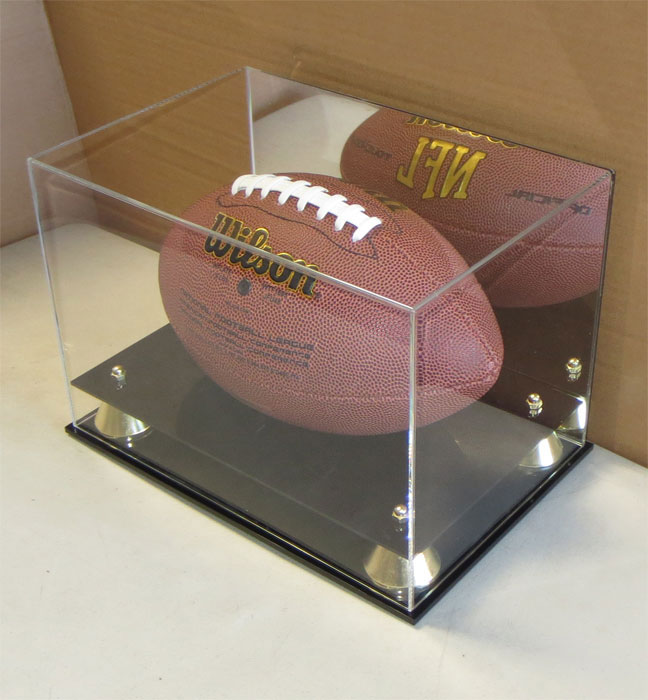 Deluxe UV Acrylic Full Size Football Display Case Stand with Mirror, Riser Stand, ACFB18M
