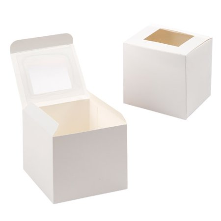 Cupcake Box with Window - White - 3.5 inches - 12 pcs