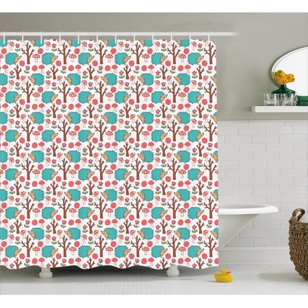 Hedgehog Shower Curtain Cheerful Forest Wildlife Themed Cartoon With Apples Daisies Tree And Mushrooms