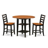 East West Furniture Sudbury 3 Piece Extension Dining Table Set with Ladder Back Chairs - Black / Cherry