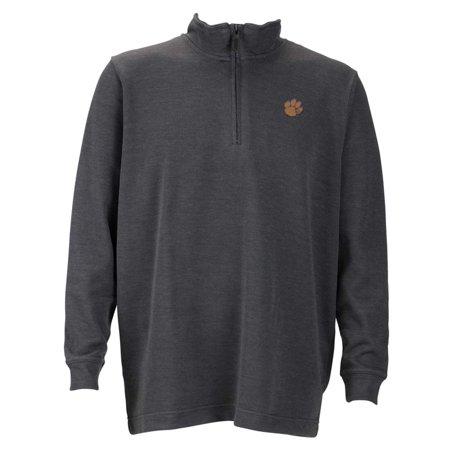 Clemson Mens 1 4 Zip Flat Back Rib Pullover  Color  Grey