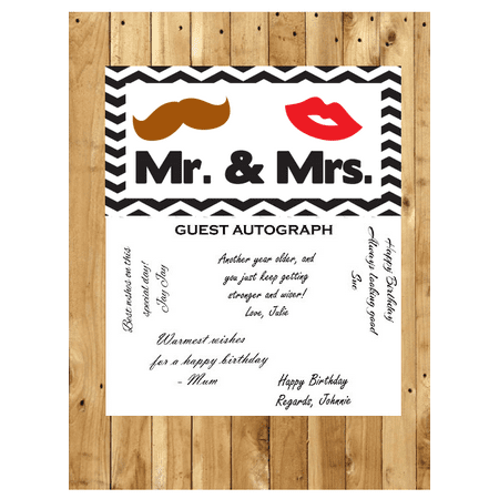 Mr & Mrs Wedding Guest Autograph Peel and Stick For Keepsake Removable Poster 13 x 24inches