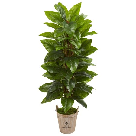 Nearly Natural  63-inch Large Leaf Philodendron Real Touch Artificial Plant in Farmhouse Planter ()