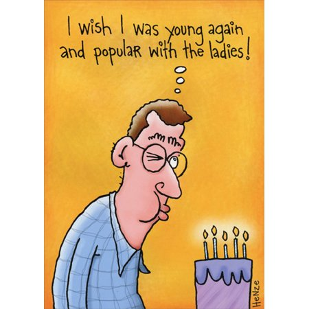 Oatmeal Studios Wish To Be Popular With Ladies Funny Birthday Card for Him / Man