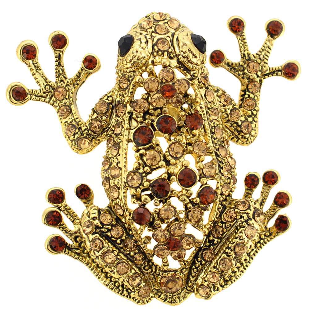 Vintage Style Golden Topaz Frog Pin Brooch by