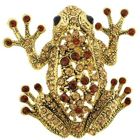 Golden Vintage Brooch - Vintage Style Golden Topaz Frog Pin Brooch