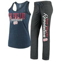 New England Revolution Concepts Sport Women's Spar Tank Top & Pants Sleep Set - Heathered Navy/Heathered Charcoal