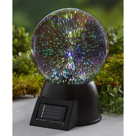 3-D Effect Solar Glass Gazing Ball with Base - ()