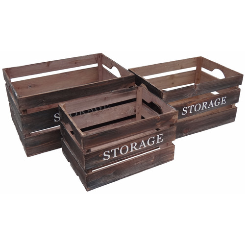 Cheungs 3 Piece Wood Crate Set with ''Storage'' Labeled