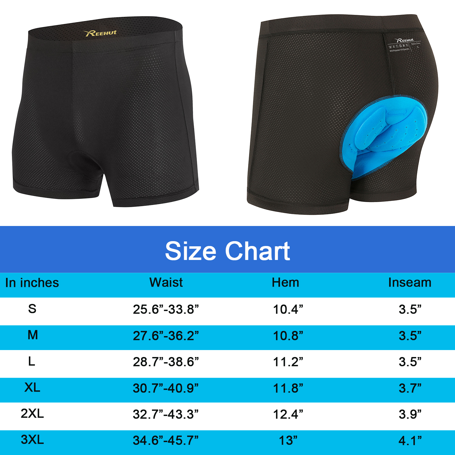 "REEHUT Men/'s 3D Padded Bicycle Cycling Underwear Shorts M Waist 27.2/""-36.2/"""