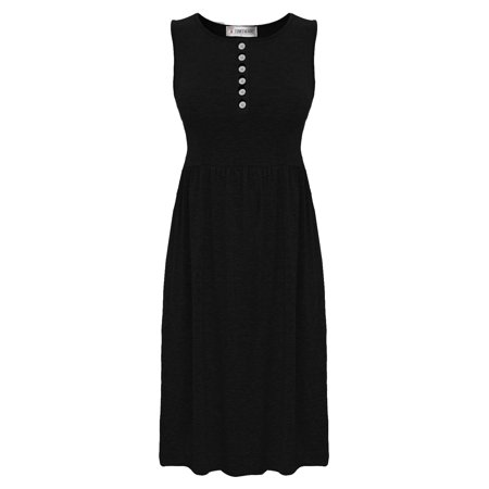 TAM WARE Women Stylish Buttoned Sleeveless Knee Length Skater Dress Tunic (Skater Dress Below Knee)