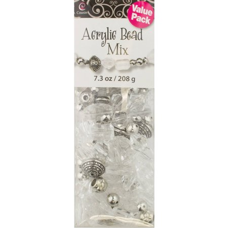 Clear Acrylic And Silver Bead Mix 73oz Walmartcom