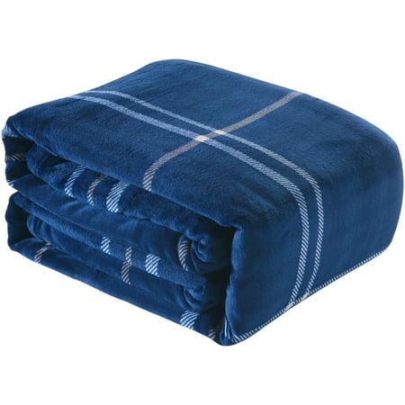Better Homes and Gardens Velvet Plush Blanket, Indigo Plaid, Full/Queen