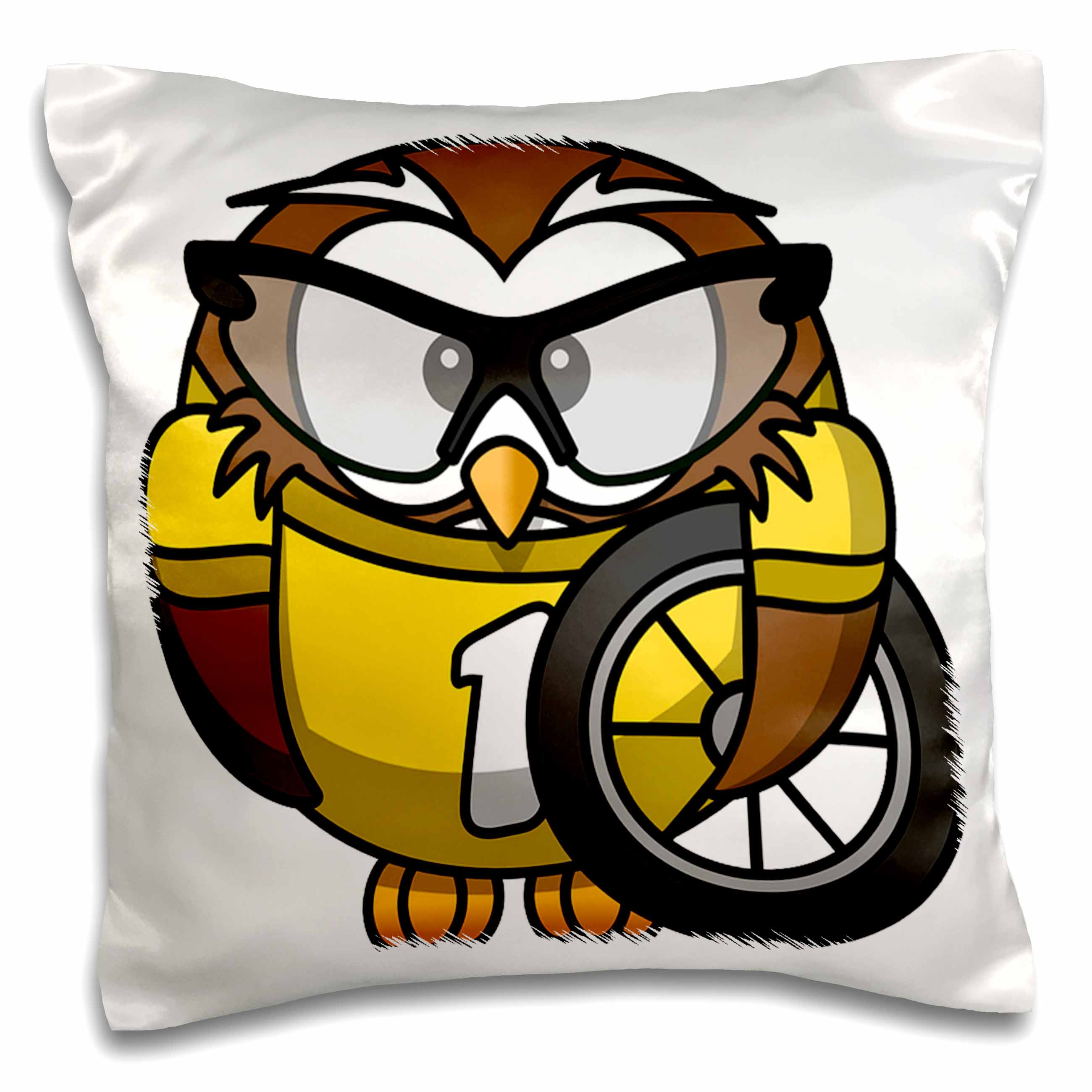 3dRose Print of Cartoon Owl With Bike Tire And Goggles, Pillow Case, 16 by 16-inch