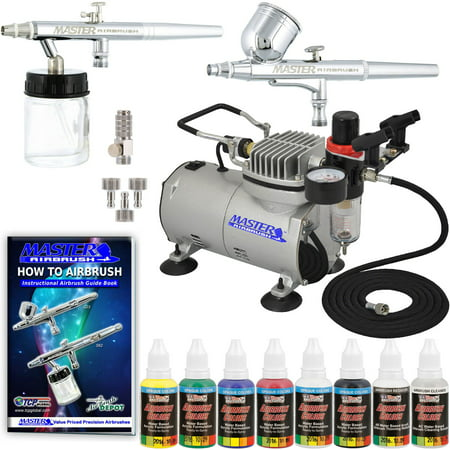 2 AIRBRUSH SYSTEM KIT w/ 6 Primary Paint Color Set, Air Compressor - 1 Airbrush Parts