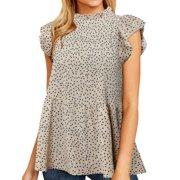 Nlife Women Ruffled Short Sleeve Button Closure Polka Dots Shirt