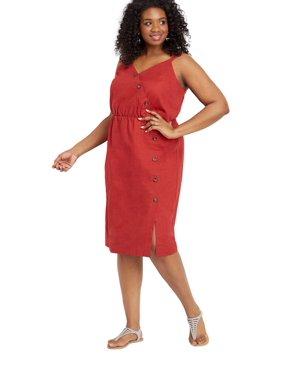 0ef606aebe3a Product Image Plus Size Linen Button Front Dress