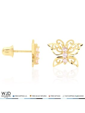 674bc7075 Product Image 14K Yellow Gold Diamond Cut Pink Tourmaline Butterfly  Screwback Stud Earrings