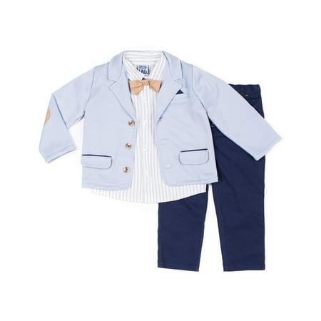 66e0ac9c9876 Little Lad - Short Sleeve Stripe Poplin Button Up Shirt, Peached Twilled  Pants, Bowtie & Marled French Terry Blazer, 4pc Dressy Set (Baby Boys) -  Walmart. ...
