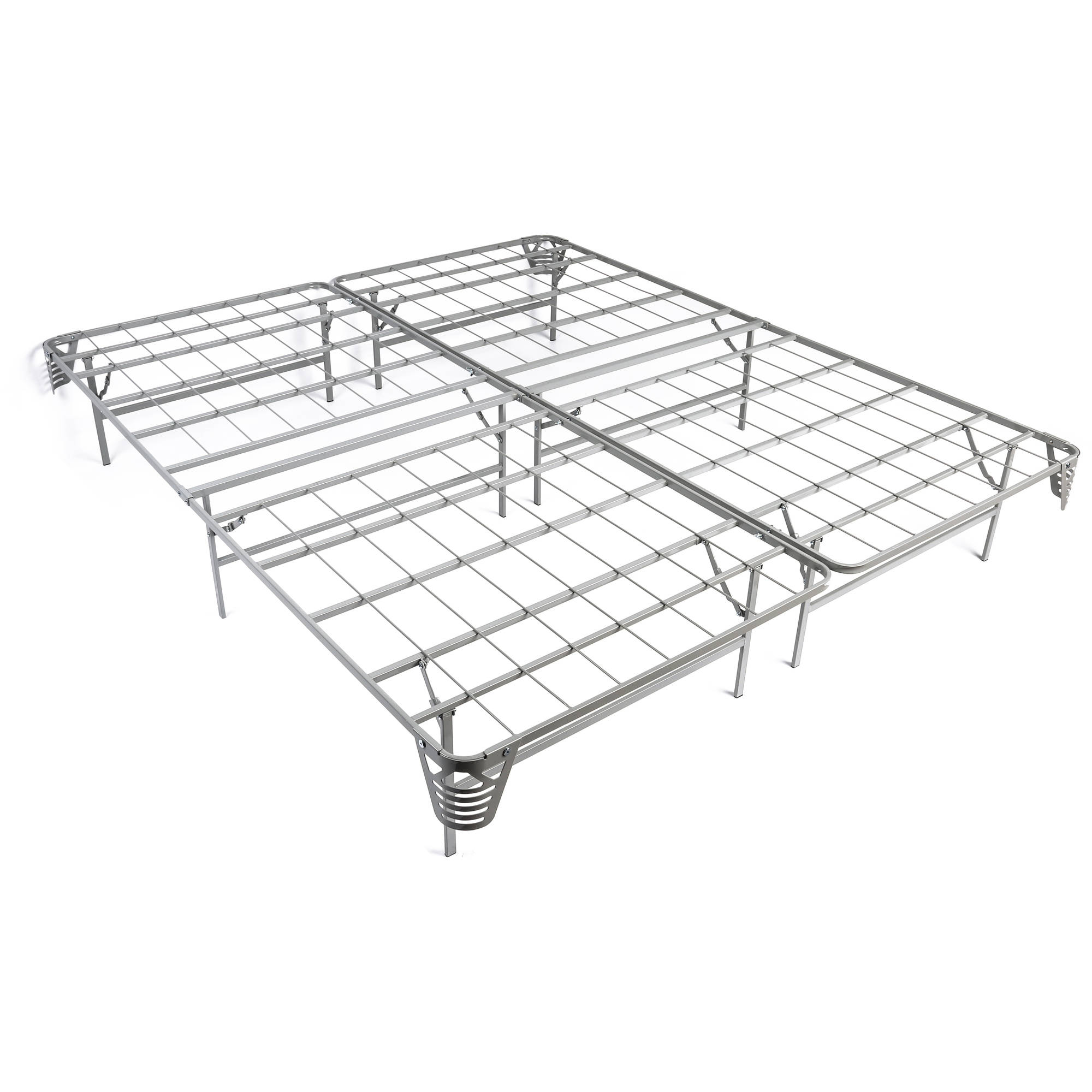 miBasics Cira Silver Metal Mattress Foundation, Multiple Sizes