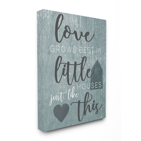 The Stupell Home Decor Collection Love Grows Best In Little Houses Grey Illustration Oversized Stretched Canvas Wall Art, 24 x 1.5 x