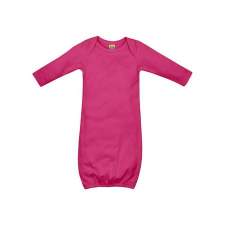 - Kavio IIC0585 Infants Interlock Lap Shoulder Long Sleeve Gown-Hot Pink-3m