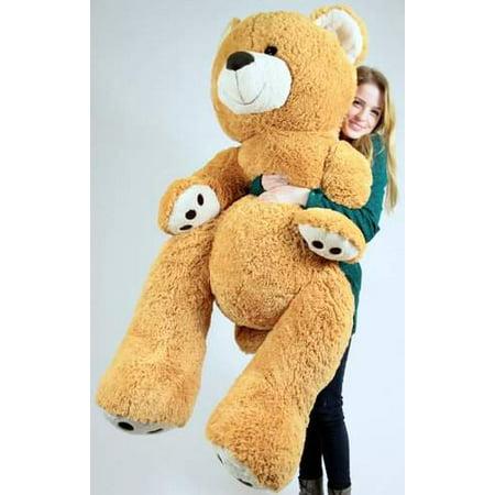 Felt Teddy Bear (Big Plush Giant Teddy Bear Five Feet Tall Honey Brown Color Soft Smiling Big Teddybear 5 Foot)